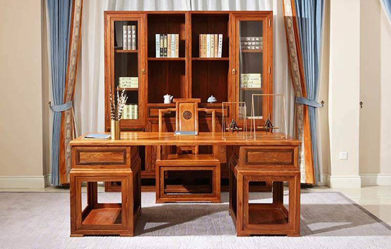 中信红木家具办公桌 刺猬紫檀紫韵书柜写字台图片及多少钱