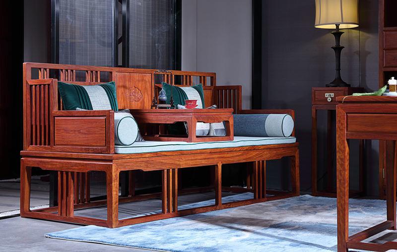金福源刺猬紫檀罗汉床 中信红木家具新中式罗汉床